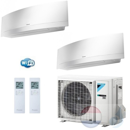 Daikin Duo Split 2.0+2.0 +4.0 kW Emura FTXJ-MS Zilver Air Conditioner WiFi R-32 FTXJ20MS +FTXJ20MS +2MXM40M A+++/A++ 7+7 Btu