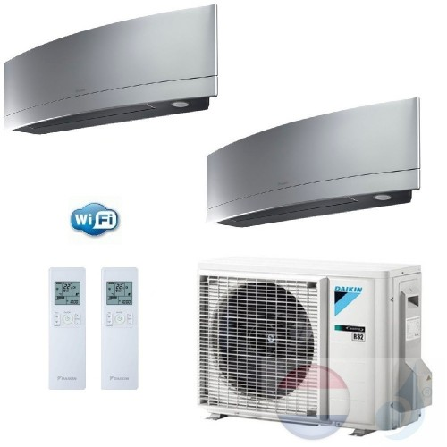 Daikin Duo Split 2.5+2.5 +5.0 kW Emura FTXJ-MS Zilver Air Conditioner WiFi R-32 FTXJ25MS +FTXJ25MS +2MXM50M A+++/A++ 9+9 Btu