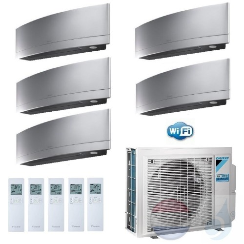 Daikin Penta Split 2.5+2.5+2.5+2.5+2.5 +9.0 kW Emura FTXJ-MS Zilver 5MXM90N Air Conditioner Warmtepomp WiFi A++/A+ Btu