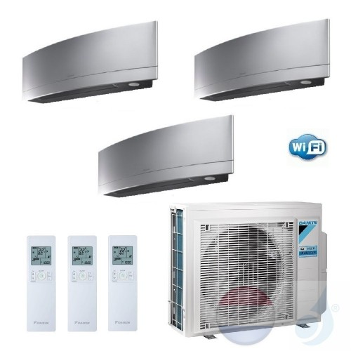 Daikin Trio Split 3.5+3.5+3.5 +6.8 kW Emura FTXJ-MS Zilver Air Conditioner WiFi R-32 3xFTXJ35MS +3MXM68M A++/A+