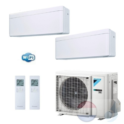Daikin Duo Split 2.5+2.5 +5.0 kW Stylish Wit Air Conditioner WiFi R-32 FTXA25AW +FTXA25AW +2MXM50M A+++/A++ 9+9 Btu