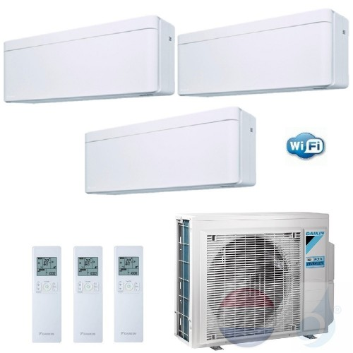 Daikin Trio Split 2.5+3.5+4.2 +6.8 kW Stylish Wit Air Conditioner WiFi R-32 A25AW +A35AW +A42AW +3MXM68N A++/A+ 9+12+15