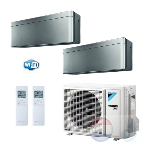 Daikin Duo Split 2.5+2.5 +5.0 kW Stylish Zilver Air Conditioner WiFi R-32 FTXA25AS +FTXA25AS +2MXM50M A+++/A++ 9+9 Btu