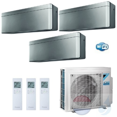 Daikin Trio Split 2.0+2.5+3.5 +5.2 kW Stylish Zilver Conditioner WiFi R-32 A20AS +A25AS +A35AS +3MXM52N A+++/A++ 7+9+12