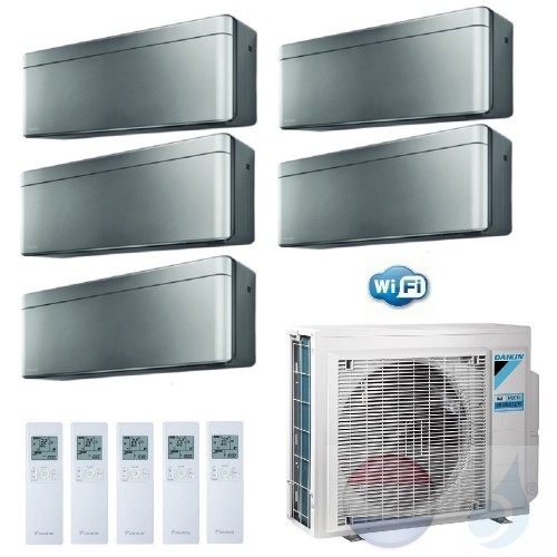 Daikin Penta Split 2.0+2.0+2.0+2.0+2.5 +9.0 kW Stylish Zilver 5MXM90N Conditioner Warmtepomp WiFi A++/A+ 7+7+7+7+9 Btu