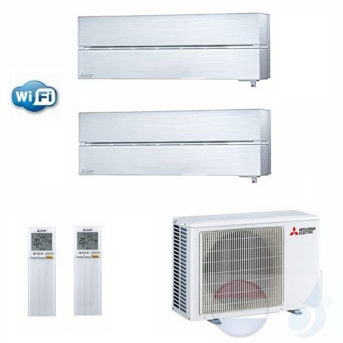Mitsubishi Air Conditioner Duo Split 2.5+3.5 + 5.3 kW R-32 WiFi MSZ-LN25V+ MSZ-LN35V+ MXZ-2F53VF kleur Pearl Wit A+++/A++ 9+12
