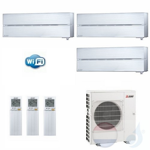 Mitsubishi Air Conditioner Duo Split 3.5+3.5 + 5.3 kW R-32 WiFi 2x MSZ-LN35V+ MXZ-2F53VF kleur Pearl Wit A+++/A++ 12+12 Btu