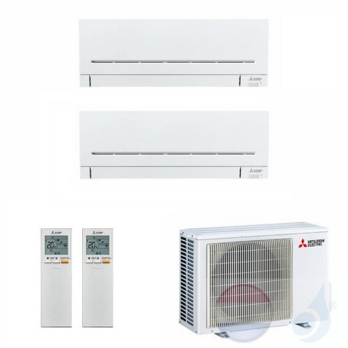 Mitsubishi Air Conditioner Duo Split 2.5+2.5 + 5.3 kW R-32 WIFI OPT. MSZ-AP25VG+ MSZ-AP25VG+ MXZ-2F53VF kleur Wit A+++/A++ 9+9