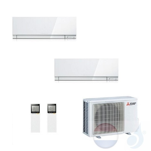 Mitsubishi Air Conditioner Duo Split 2.5+3.5 + 5.3 kW R-32 WIFI OPT. EF25VGW+ EF35VGW+ MXZ-2F53VF kleur Wit A+++/A++ 9+12 Btu