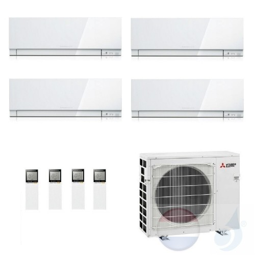 Mitsubishi Conditioner Quattro Split 2.5+2.5+2.5+2.5 +7.2 kW R32 WIFI OPT. 4x EF25VGW+ 4F72VF kleur Wit A+++/A+ 9+9+9+9