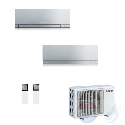 Mitsubishi Air Conditioner Duo Split 2.0+2.5 + 4.2 kW R-32 WIFI OPT. EF22VGS+ EF25VGS+ MXZ-2F42VF kleur Zilver A+++/A++ 7+9 Btu