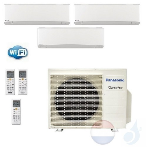 Panasonic Conditioner Trio Split 2.0+2.0+2.5 + 5.2 kW R-32 WiFi Z20VKEW+ Z20VKEW+ Z25VKEW+ 3Z52TBE Z Etherea Wit A+++/A+ 7+7+9