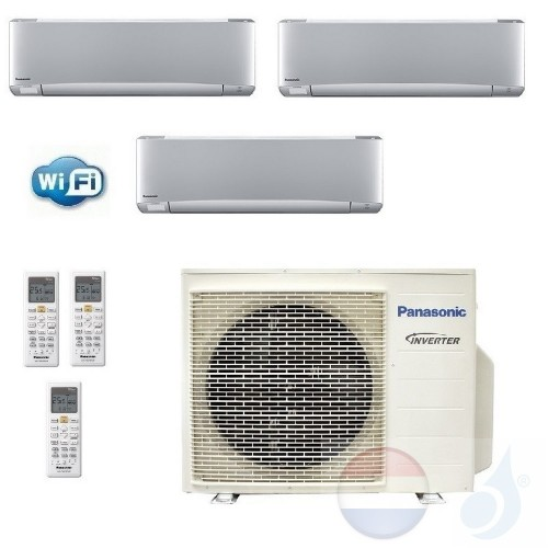 Panasonic Conditioner Trio Split 2.5+2.5+5.0 + 6.8 kW CU-3Z68TBE R-32 WiFi Serie XZ Etherea Zilver warmtepomp A+++/A+ 9+9+18